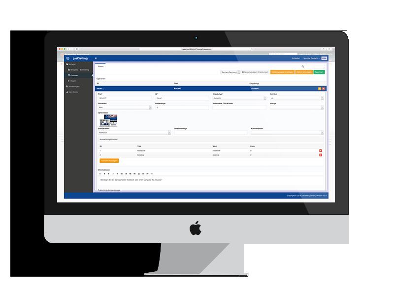 Produkt Konfigurator Verwaltungsoberfläche
